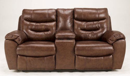 Hot Sale Contemporary Copper Leather Match Reclining Loveseat with Console and Power