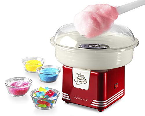 Nostalgia PCM45RR Retro Hard and Sugar Free Countertop Original Cotton Candy Maker, Includes 2 Reusable Cones And Scoop – Red