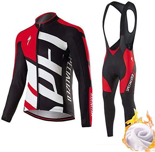 Set Abbigliamento da Ciclismo Completo Ciclismo Uomo Professionale Maglia Maniche Lunghe+Pantaloni Lunghi con 3D Cuscino per Ciclismo MTB Bicicletta Bici da Corsa Ciclismo (L,1)