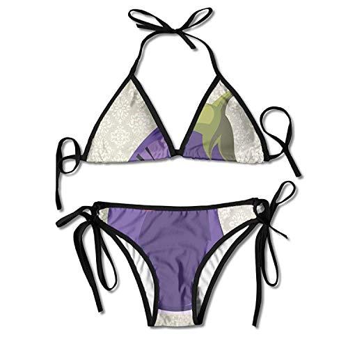 huatongxin Lustige Auberginen Bikini Damen Sommer Badebekleidung Triangle Top Bikinis Badeanzug Sexy 2-teiliges Set
