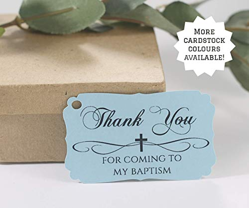 Blue Baptism Tags - Thank You for Coming to My Baptism (Set of 20)