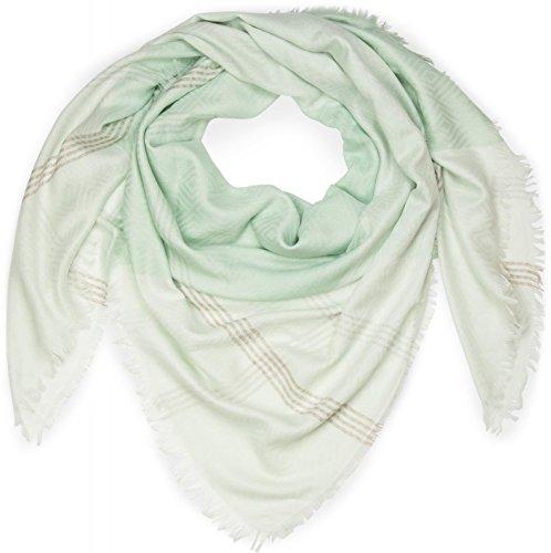 styleBREAKER XXL Vierecktuch mit Rauten Muster und Streifen im Ethno Style und Fransen, Schal, Tuch, Damen 01016128, Farbe:Weiß-Mint