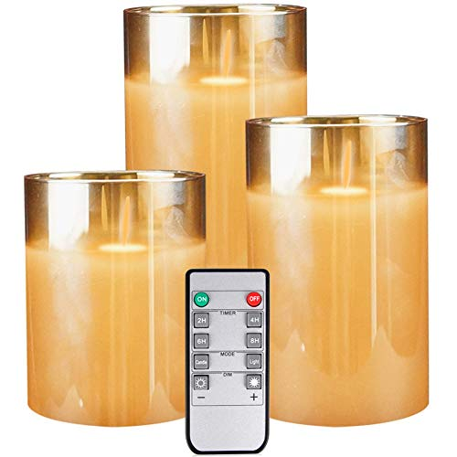 LED Flickering Flameless Candles Set of 3 Battery Operated Moving Wick Candle Luxury Glass Real Wax Remote Control Home Wedding Decor,4' 5' 6' Pack of 3
