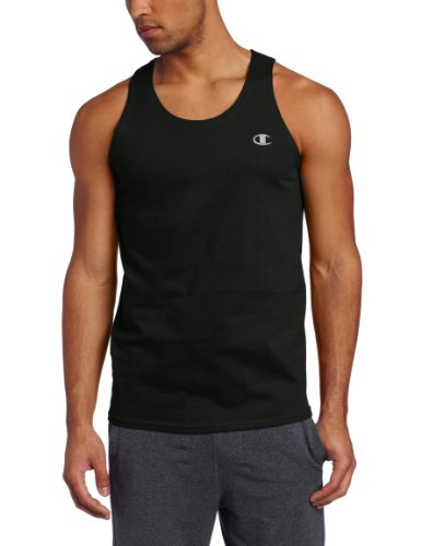 Champion Men`s Authentic Cotton Jersey Tank Top,T2233,S,Black