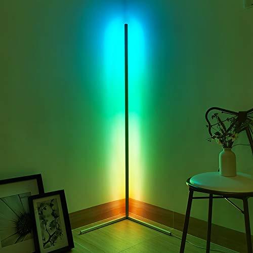JAKROO LED Eck Stehlampe, Moderne Minimalist RGB Dimmbare Stehleuchte Bunt Inneneinrichtung Beleuchtung mit Fernbedienung Kann im Schlafzimmer Wohnzimmer Büro Gang,Weiß, Schwarz