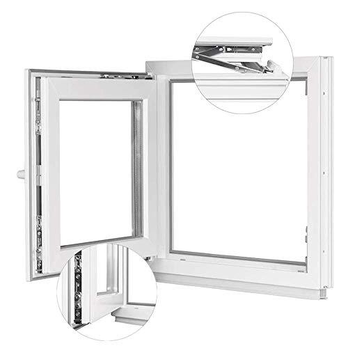 Kunststofffenster Weiß - Kellerfenster 2 Fach Verglasung BxH: 800 x 850 mm - Alle Größen - Garagenfenster/Gartenhaus Fenster 80 x 85 cm - 58 mm Profil - Din Links - Funktion Dreh Kipp Fenster