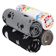 Aodaer Pack of 4 Pet Blankets With Paw Prints Pet Cushion Animals Blanket Puppy Dog Blanket for Smal...