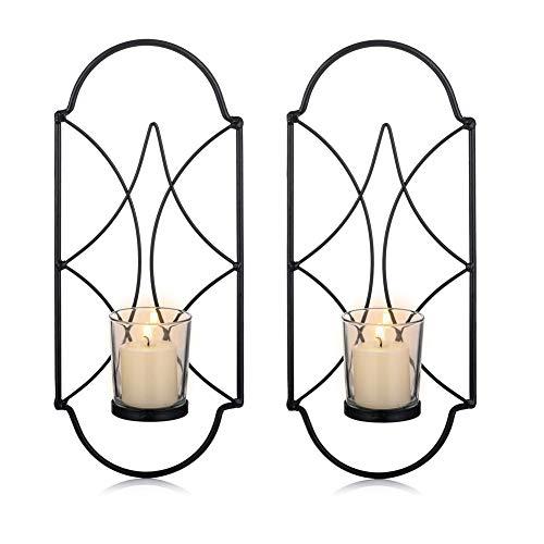 Sziqiqi Wandkerzenhalter Wandleuchter Kerzenständer Kerzenhalter Kerzenleuchter aus Metall 2er Set, Wandteelichthalter Säulenhalter für Teelichter Stumpenkerze Wohnzimmer Schlafzimmer, Schwarz