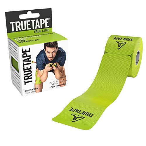 TRUETAPE® - Kinesiotape vorgeschnitten, Vergleichssieger, 20 Streifen Kinesiologie Tape, Wasserfest, inkl. +50 Anleitungen, Grün