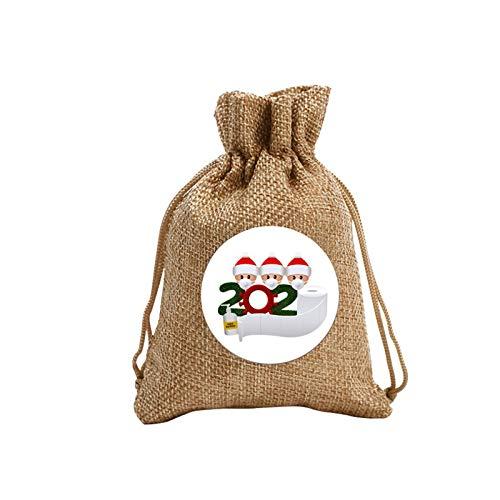 5 bolsas de dulces de Navidad con corbatas para niños, bolsas de regalo de regalos de Papá Noel con cabeza de lino, mochila de manzana, bolsas variadas, suministros de fiesta de Navidad (C)