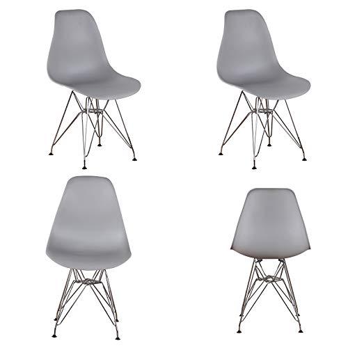 WV LeisureMaster Juego de 4 sillas de oficina con proceso de galvanoplastia, patas de marco de metal para el hogar, comedor, cocina, sala (gris)