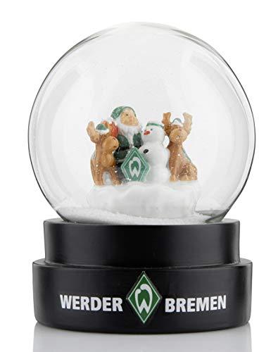 Werder Bremen SV Schneekugel ** Weihnachtsmann mit Rentieren und Schneemann **