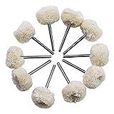Disco de pulido para pulido de ruedas de lijado, juego de algodón, rueda para taladro giratorio, herramienta Dremel, accesorios de reloj, joyas, pulido, 3 mm, mandril 10 unidades