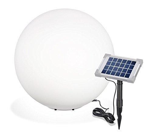 Solar Leuchtkugel Mega Ball 50cm, hochwertige PE Kugel, Dauer- oder Wechsellicht, 8 Lichtfarben inkl. warm- und kaltweiß, 106026