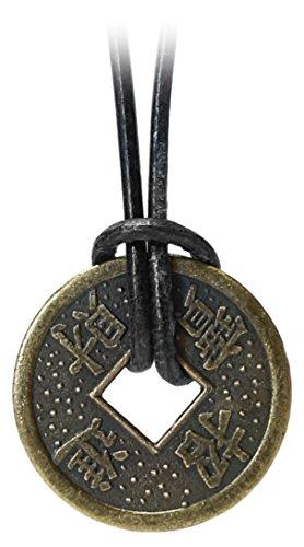 Kaltner Präsente Geschenkidee - Lederkette für Damen und Herren mit Chinesischer Glücksmünze Münze als Anhänger (Ø 23 mm)
