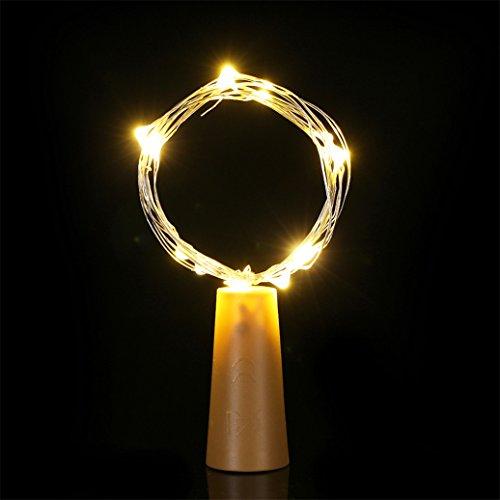 Guirlande lumineuse LED pour bouteille de vin avec bouchon en liège - Pour Noël, Halloween, fête de mariage, décoration intérieure ou extérieure - Blanc chaud