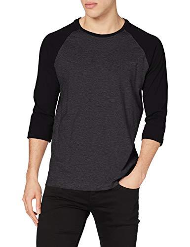 Urban Classics T-shirt à manches longues pour homme Multicolore Gris/Noir Small