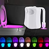 Led Toilet Bowl Light Motion Sensor Activated 8 Color Changing Bathroom Bowl Light Warm dimmable Perfect Decorative Night Light(White-2 Pack)