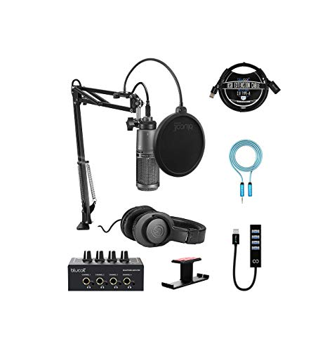 Audio-Technica AT2020USB+PK Streaming/Podcasting Pack Bundle with Blucoil Headphone Amp, 6