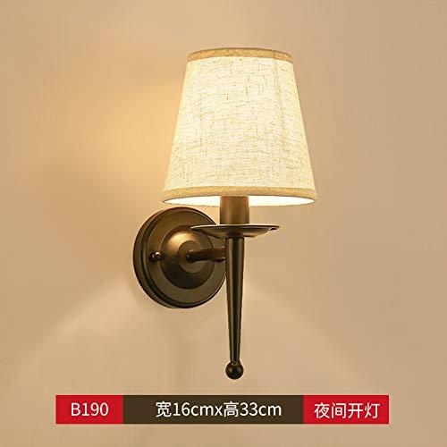 Agorl Applique murale lampe de chevet chambre simple moderne créative salon balcon lampe escalier lampes d'allée, vert foncé LT190 noir + lumière chaude