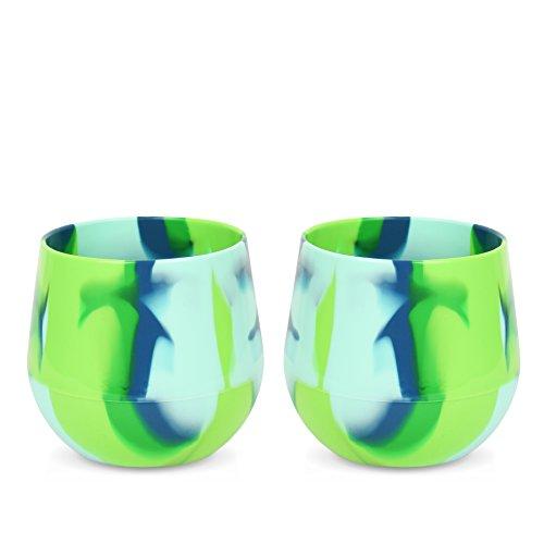 Silipint Silicone Unbreakable Wine Glass, Reusable & Shatterproof Wine Tumblers, 14 oz (2-Pack, Sea Swirl)
