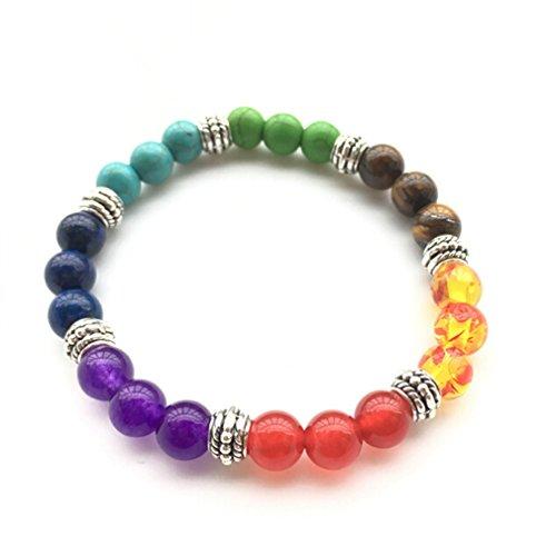 Yesiidor Multicolore Bracelet de perles pierre Volcanique en corde tressée Pierre Agate Bracelet, argenté, As description