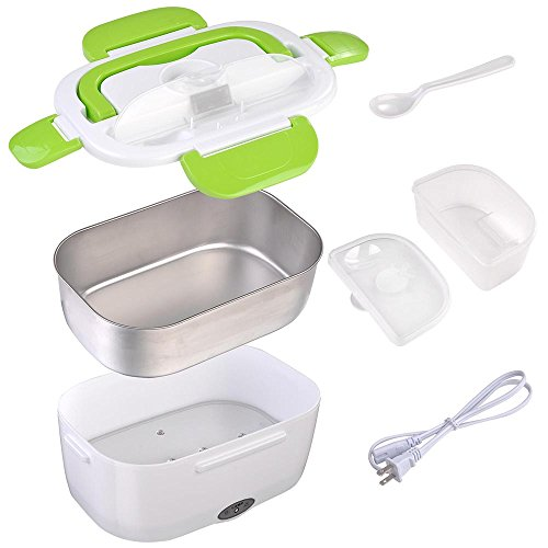 Yescom 1.5L Portable Electric Lunch Box Car Food Warmer Heater Spoon and 2 Container Green
