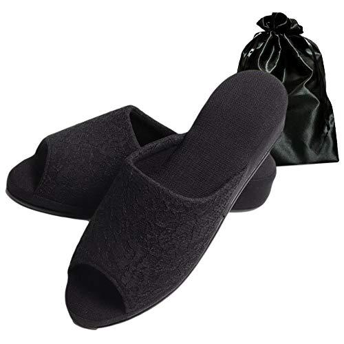 [ホマリナ]お受験スリッパメンズレディース上履きルームシューズフォーマル黒父親母親袋付(黒レースヒール)