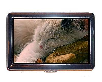 Stainless Steel Cigarette Case,Kitten Pet Sleeping Cute Cat Toy Cash Holder Case Box 0261