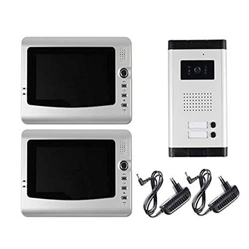 081 Store - Videocitofono bifamiliare a Colori Doppio Monitor LCD 7  Telecamera 6 LED