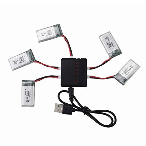 ZYGY 5pcs 3.7V 380mah 25C Lipo Batteria & 5in1 Caricabatteria per Hubsan X4 H107 H107C H107L Syma X11 X11C HS170 HS170C F180C HS170G TOZO Q2020 E016H E016F FX801 V911S A120 XK A150 V966 RC Drone