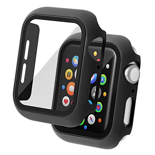Insten Case Compatible with Apple Watch 44mm Series SE 6 5 4, Matte Hard Cover, Built in Tempered Glass Screen Protector, Full Protection, Black