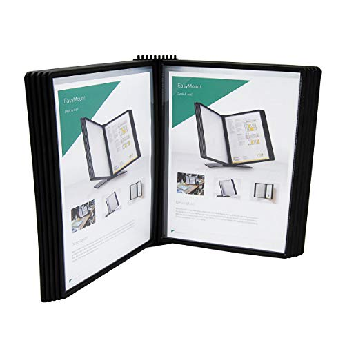 TARIFOLD Wall Mounted Reference System with 10 Easy-Load Pockets, 20 Sheet Capacity, Letter-Size, Black, (EZW771)