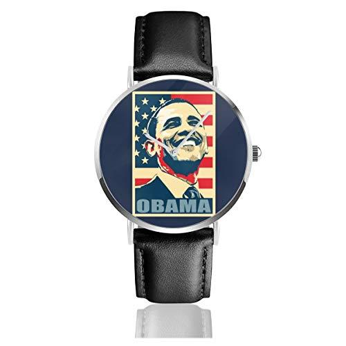 Unisex Business Casual Obama Smile Propaganda Poster Pop Art Uhren Quarz Leder Uhr mit schwarzem Lederband für Männer Frauen Junge Kollektion Geschenk