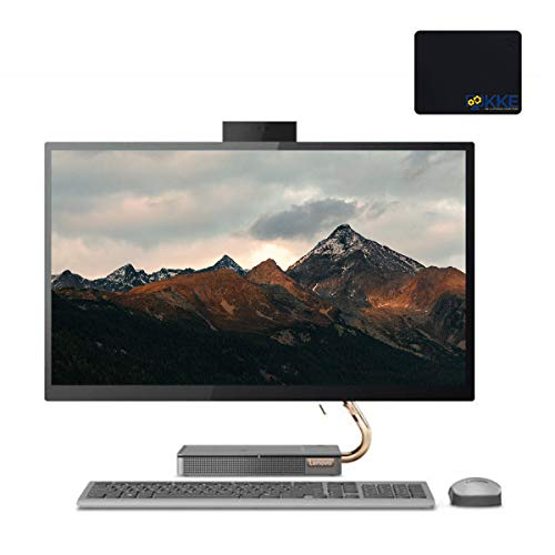 "Lenovo IdeaCentre 27"" QHD Touch-Display AIO Desktop, Intel i5-9400T, 32GB DDR4 Memory, 1TB PCIe Solid State Drive + 2TB HDD, HDMI, WiFi, Pop-up HD Webcam, Wireless Mouse&Keyboard, KKE Mousepad, Win10"