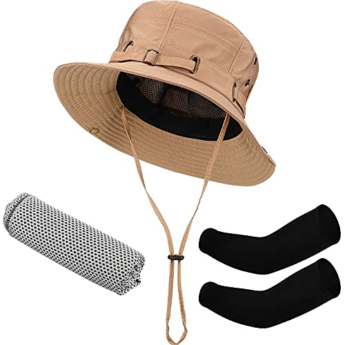 Fishing Hat Beige Unisex Brim Cap with Drawstring and Black Arm Sleeves UV Protection Sun Sleeves and Gray Cooling Towel Microfiber Ice Towel for Men Women
