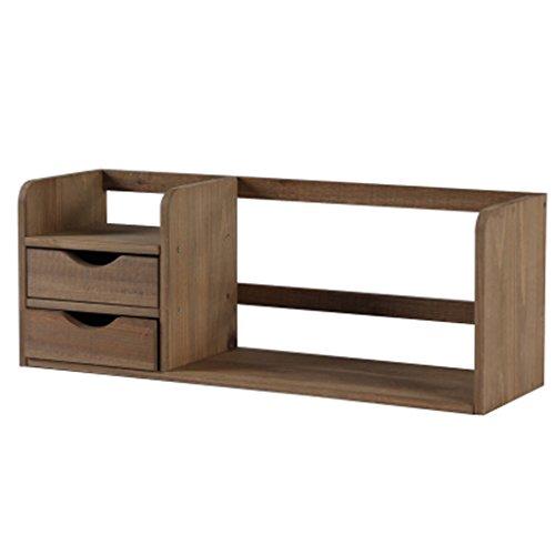 HLYR japanischen Stil kreativen Holz-Desktop kleine Bücherregale mit 2 Schubladen Ablage Rack Buch Regal, Speicher Schreibtisch Veranstalter Datei Regale Massivholz Book Holder StorageBookshelf