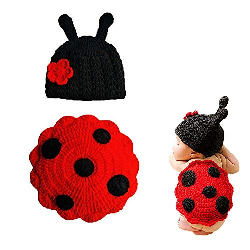 DC CLOUD Disfraz Bebe Recien Nacido Suave fotografía Prop Crochet fotografía Prop Disfraces de Escarabajo para fotografía De fotografía Prop Black Red,Cap 37cm -39cm