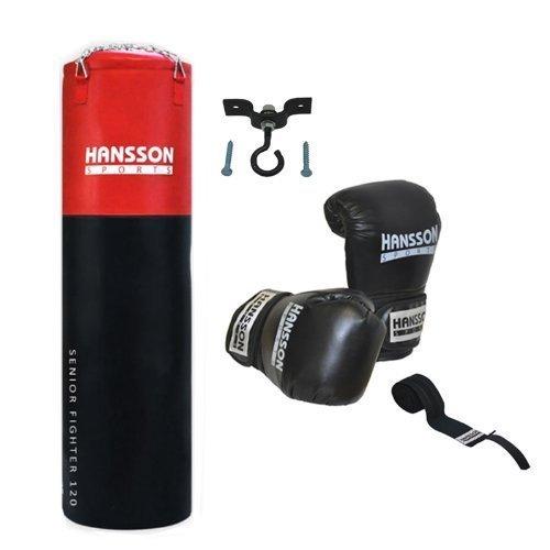 Hansson.Sports Boxset: Boxsack 120cm lang + Boxhandschuhe 14OZ + Bandage + Deckenhalter