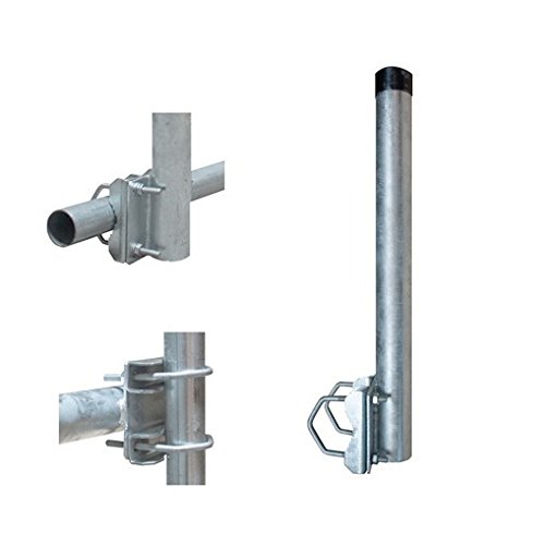 Soporte de balcón PremiumX 50 cm Ø 42 mm soporte de barandilla de mástil de acero para antena parabólica antena parabólica sistema de satélite soporte para antena parabólica - también se puede utilizar como extensión de mástil extensión de mástil