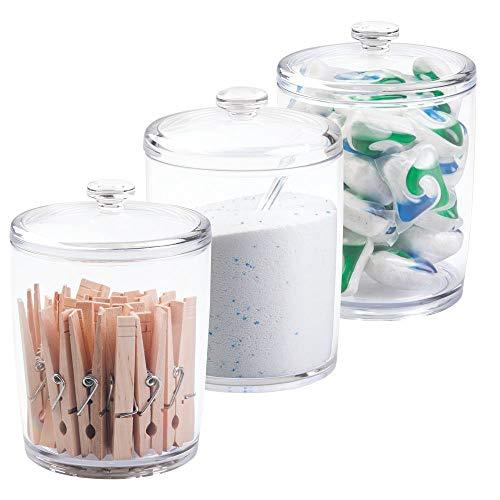 mDesign wasmiddelbox - container voor waspoeder in set van 3 - opbergdoos voor wasmiddel, wasknijpers etc. - transparant