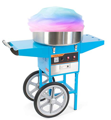 Electric Cotton Candy Floss Maker Machine Cart Stand Wheel Stainless Steel Bowl Sugar Scoop Manual Kit 110V Power Sweet Home Commercial Cone Mixed Favor Flossing Spins Work Party Birthday Fair Tasty