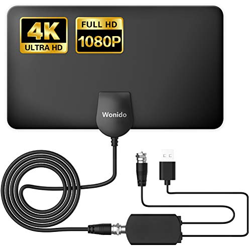 Wonido Digital Antenna for TV Indoor, 100 Miles Long Range Amplified Antenna for Smart TV with Amplifier Signal Booster HD 4K 1080P Free Local Channels with 13 Ft Coax Cable