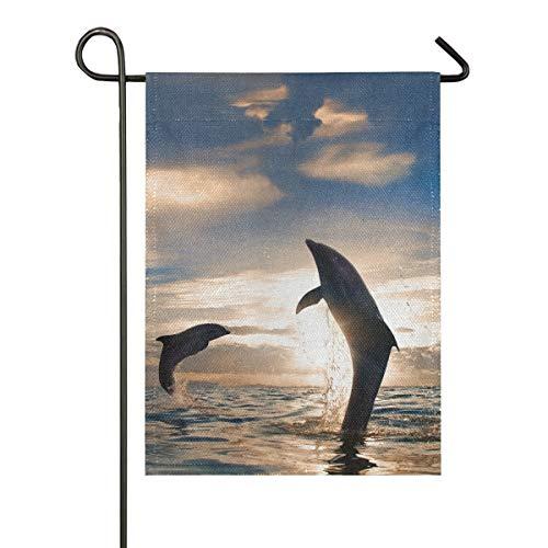 XiangHeFu 12 x 18 Zoll Geschenk im freien Sonnenuntergang 2 verspielte Delfine springen Banner doppelseitige Garten Flagge Yard House