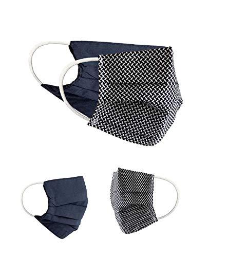 BaF Community Masken 2er Pack Set Unisex Behelfsmaske Wendbar Mundschutz Maske Mund- und Nasenschutz Wendemaske mit Motiv Baumwolle BCI Waschbar, Schwarz
