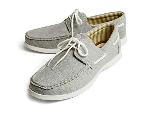[ラプア カーマ] デッキシューズ ドライビングシューズ スニーカー 靴 メンズ カジュアルシューズ ローカット PUレザー スムース スウェット シューレース メンズシューズ 43(26.5cm) Gray-sw