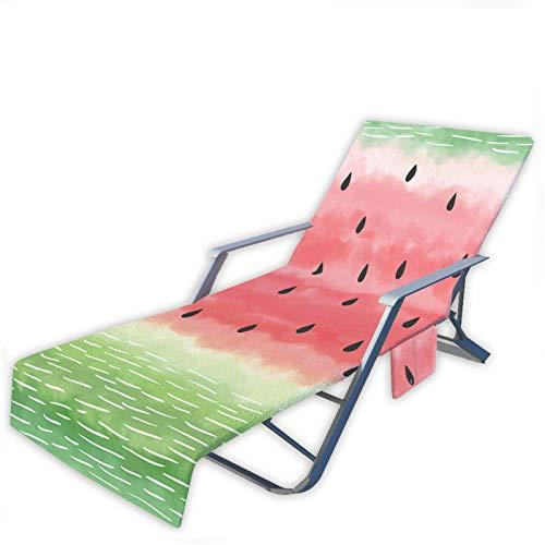 Toalla de Playa Fruta Sandía Impresión Tumbona Multifuncional Playa, Funda de Silla de Playa Portátil Microfibra con Bolsillos,Jardín Piscina Playa (Color 6, 75 × 210 cm)