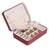 LAIQIAN Jewelry Box Organizer, Pendientes Multifuncionales Zipper Pendientes Pendientes Collar Anillos Estuche De Almacenamiento (Color : Red)