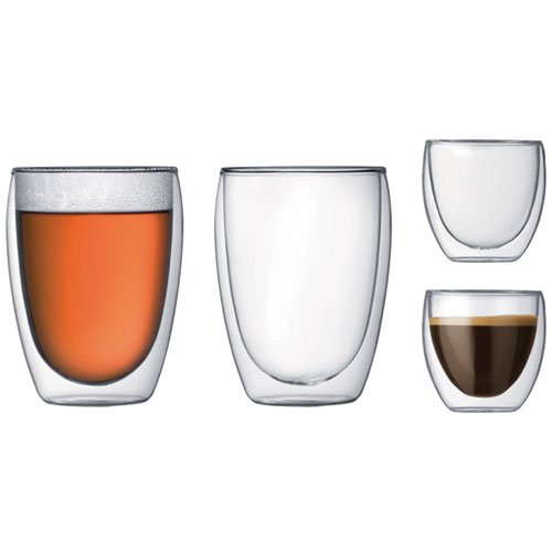 31fcbe6d97ad Bodum K4557-10 Double Wall Glasses - Transparent, Pack of 4