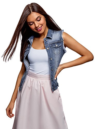 oodji Ultra Donna Gilet in Jeans con Tasche Decorative, Blu, IT 38 / EU 34 / XXS